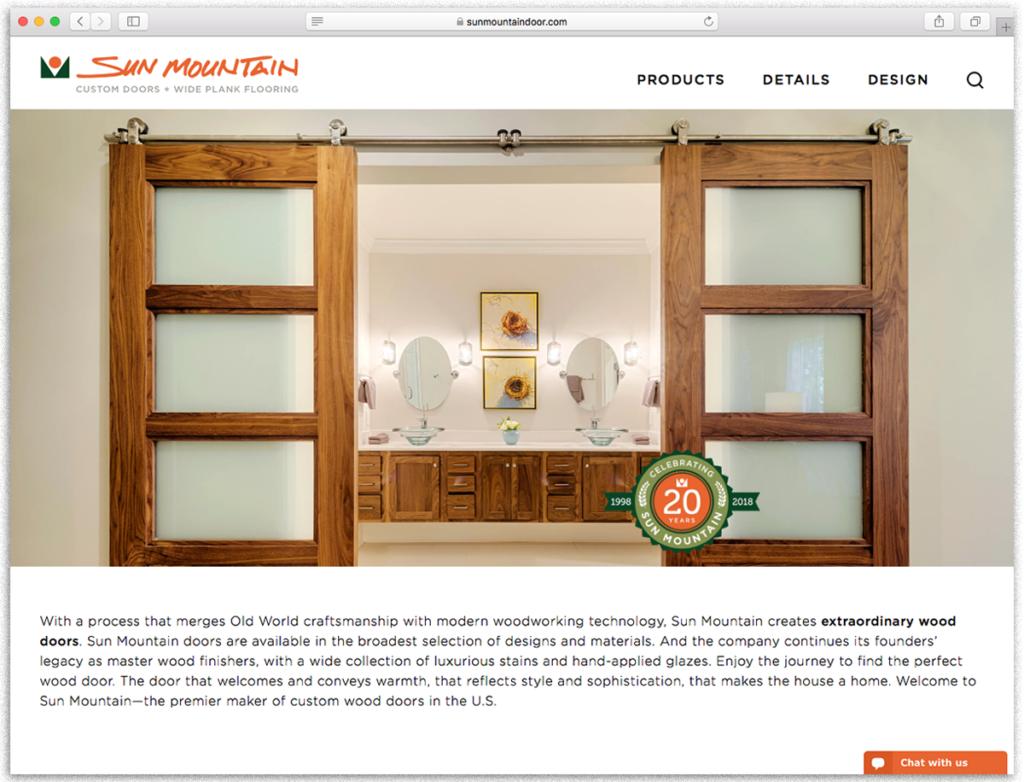 Sun Mountain Website with Anniversary Badge